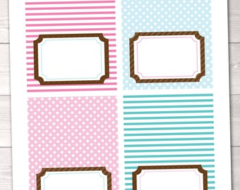 Pink & Blue Buffet Card Labels Polka Dots and Stripes Printable Blank Tent Card Tags - INSTANT DOWNLOAD
