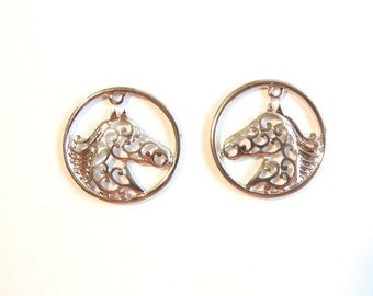 Pair of Silver-tone Filigree Horse Head Charms