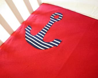 Organic Cotton Baby/Toddler Fleece-Backed Blanket -- Red with Nautical Stripe Anchor -- Fits Crib/Toddler Bed