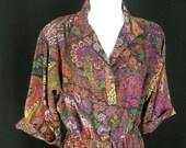 Vintage paisley dress boho shirtwaist floral pattern ruffle skirt organic print cotton size s to m chest 38 1970s