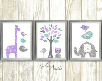 Baby Girl Nursery Decor Purple gray aqua nursery Kids Wall Art giraffe Elephant Tree Birds Owl room decor Set of three prints