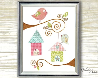 Kids wall art - baby nursery decor - nursery wall art - children wall art - personalized - birds nursery - Birdhouses print
