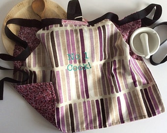 Cooking Apron,Ladies Apron,Half apron,floral print back OOAK-Girls apron-womans apron-can be personalised