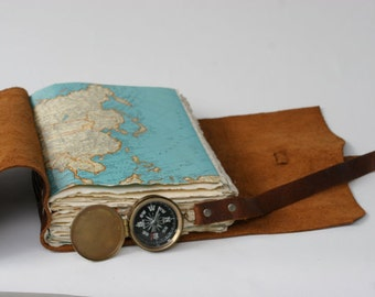 Custom Travel Journal - You pick the map - Includes Initials on cover