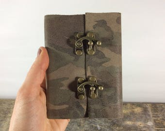 Pocket sized camo travel journal / lined leather journal