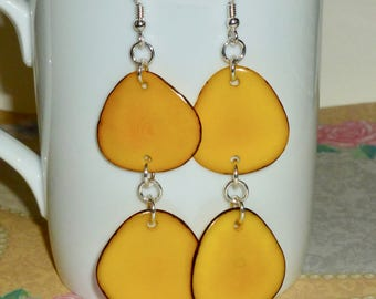 Yellow Tagua Earrings - Tagua Nut Slice Hanging Sterling Silver Earrings - Yellow Tagua Nut Earrings