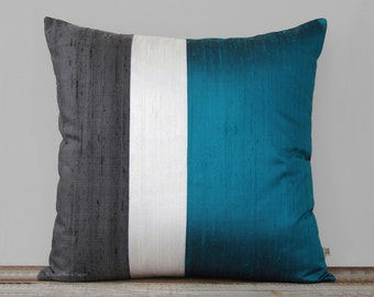 Teal Silk Color Block Pillow Cover with Cream and Charcoal Gray Panels by JillianReneDecor   Pacific Blue Pillow   Modern Home Decor
