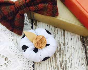 Pretty Plush Pumpkin In Black White Polka Dots