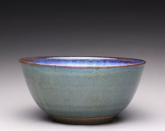 handmade pottery bowl, serving bowl ceramic bowl with blue green and white ash glazes