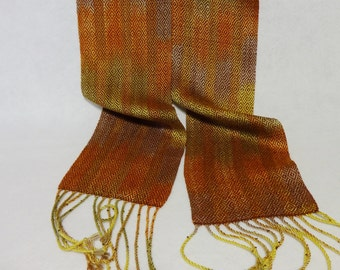 Handwoven Hand-dyed Tencel Scarf, Hand woven scarf, Tencel scarf, Hand-dyed scarf - Rust Tencel Scarf - Portabella Scarf (15-04 Rust)