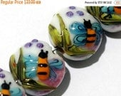 ON SALE 50% OFF Four Bumble Bee Dreams Lentil Beads - Handmade Glass Lampwork Bead Set 11007412