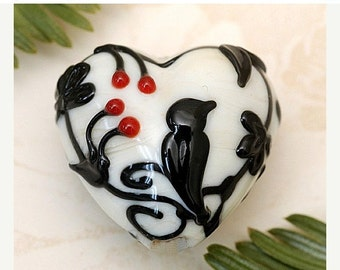 ON SALE 35% OFF Tranquility Vines Opaque Heart Focal Bead - Handmade Glass Lampwork Bead 11830705