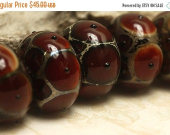 ON SALE 45% OFF Handmade Glass Lampwork Bead Set - Six Red Rondelle Beads 10704401