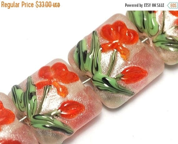 ON SALE 35% OFF Glass Lampwork Bead Set - Four Vermilion Flower Pillow Beads 10705914