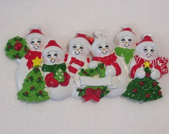 personalized ceramic snowman tree family of 6 ornament... great for grandparents