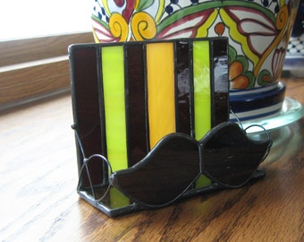 Stained Glass Moustache Business Card Holder, Desk Accessory, Business Card Holder, Masculine, Brown, Green, Tan