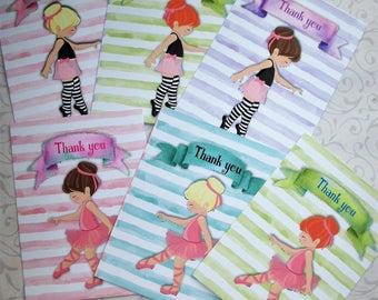 BALLERINAS - Set of 6 Thank you tags or notecards - Pastels, Watercolor, Stripes, elegant - sweet - WTBAL 54544