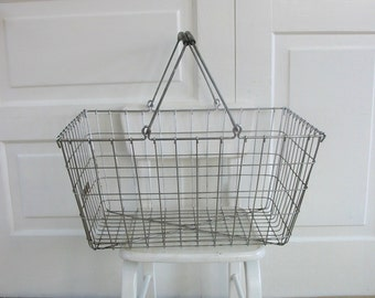 Vintage Metal Basket, Wire Basket, Industrial Basket, Market Basket, Black Metal Basket, Handled Basket, Metal Wire Basket, Industrial Decor