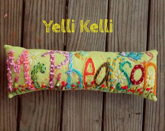 Freehand Embroidered Bohemian TEN Letters Name Pillow Custom Made