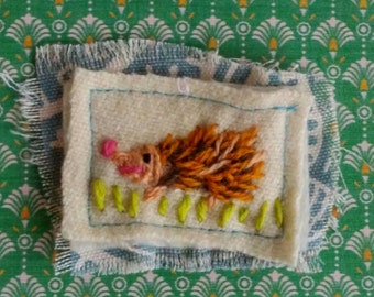 Hand Embroidered Brooch Hedgehog Design Ready to Ship FREE SHIP YelliKelli