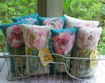 Rustic Rose In Jar Hand Painted Mini Pillow Choice of One Ready to Ship  Gift Idea YelliKelli