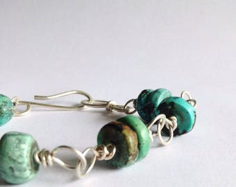 Turquoise Bead and Sterling Silver Link Bracelet