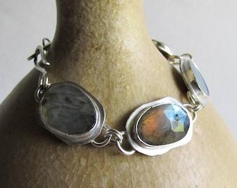 Rose Cut Labradorite and Boulder Opal Link Bracelet - Labradorite Jewelry - Handmade Link Bracelet - 25th Anniversary Gift