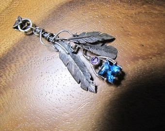 Sterling Brutalist Feather Pendant with London Blue Topaz and Amethyst