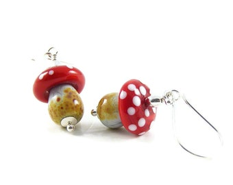 Magic Mushroom Earrings, Artisan Handcrafted Lampwork Glass & Sterling Silver, Nature Inspired Jewellery Gifts for Her