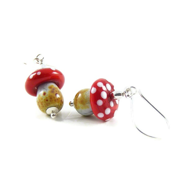 Magic Mushroom Earrings, Artisan Handcrafted Lampwork Glass Toadstools & Sterling Silver, Nature Inspired Jewellery Gift