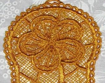 Yellow Hibiscus Machine emboridered lace bookmark