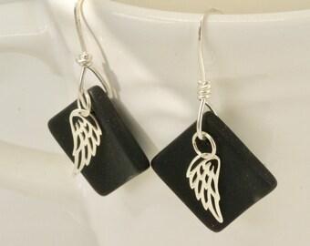 Silver Angel Wing  Earrings, Black Faux Sea Glass, Hand Forged Sterling Silver Earring, Black Silver Earrings, Bird Jewelry, Art Jewelry