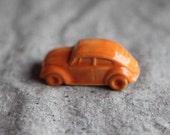 Volkswagen Beetle VW Bug Figurine in Stoneware with Orange Glaze