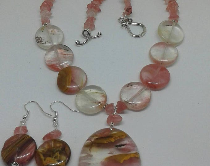 Item # 201724, Sherrie, 20 Inches Long, Necklaces and Earring Set, Handmade, Handcrafted, Gemstone Jewelry