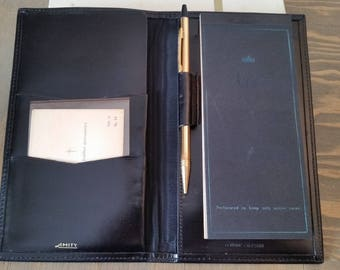 Vintage Amity Black Calfskin Leather Wallet Notebook with Gold Metal Mechanical Pencil In Original Box