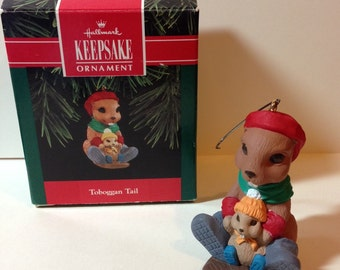 Vintage Hallmark Toboggan Tail Keepsake Christmas Ornament - Dated 1992