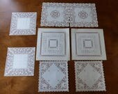 Vintage Paper Doilies Square 4 Designs, 2 of Each Paper Cutting Cutout
