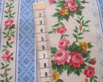 1950s Vintage French Floral Fabric - Shabby Chic Fabric For Sewing - Patchwork And Quilting Fabric  - French Florals, Florals And Stripes