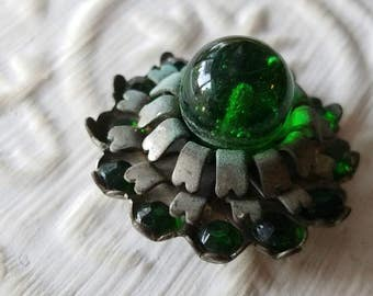 Vintage Button - 1 extra large beautiful, Collector/ Victorian,  flower design, emerald colored glass/ rhinestones, silver metal, (mar 76 17
