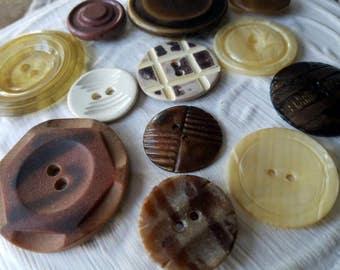 Vintage Buttons 12 assorted designs celluloid , composition, designs(mar 115 17)