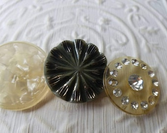 Vintage Buttons - 3 assorted  novelty assorted styles celluloid  1 with rhinestones (mar329 17)
