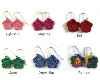 Little Flower Earrings on Sterling Silver - Custom - Choose a Color