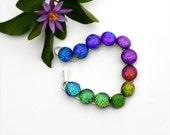79 Rainbow fused dichroic glass link cabochon bracelet, round,
