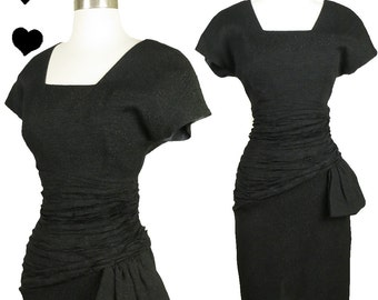 Vintage 80s Dress // 40s Style Film Noir Black Cocktail Party Dress S Sheath Swag Glam LBD Prom Dance Wiggle WWII 1980s 1940s Ww2 Uso Pinup