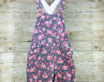 Dark Gray Floral Print Denim Shortalls S M