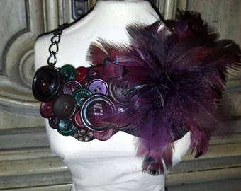 Bib Style Vintage Button And Feather Necklace HANDMADE