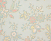 1930s Vintage Wallpaper Pink Yellow White Flowers on Light Blue by the Yard