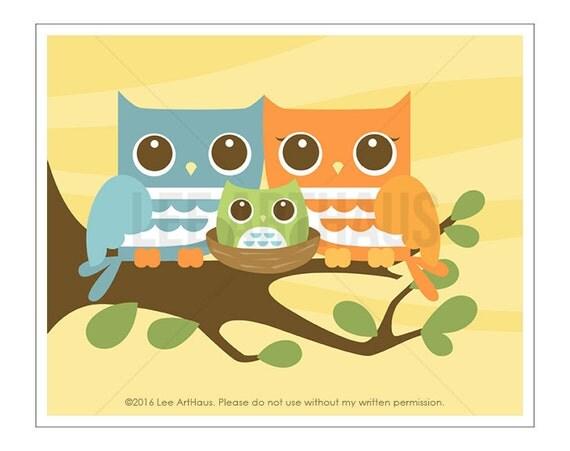 128A Owl Art - Mom and Dad Owl with Baby Boy Owl  Owl Nursery Print - Family Wall Art - Woodland Wall DecorWall Art - Owl Print - Woodland
