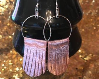 Metallic Pink leather Earrings
