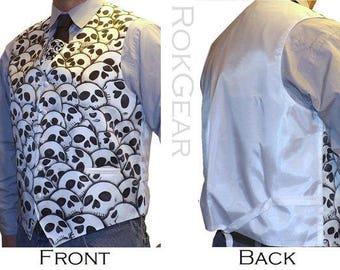 Men Skull design formal vest custom skull vest waistcoat and matching skull necktie - LIMITED RokGear design